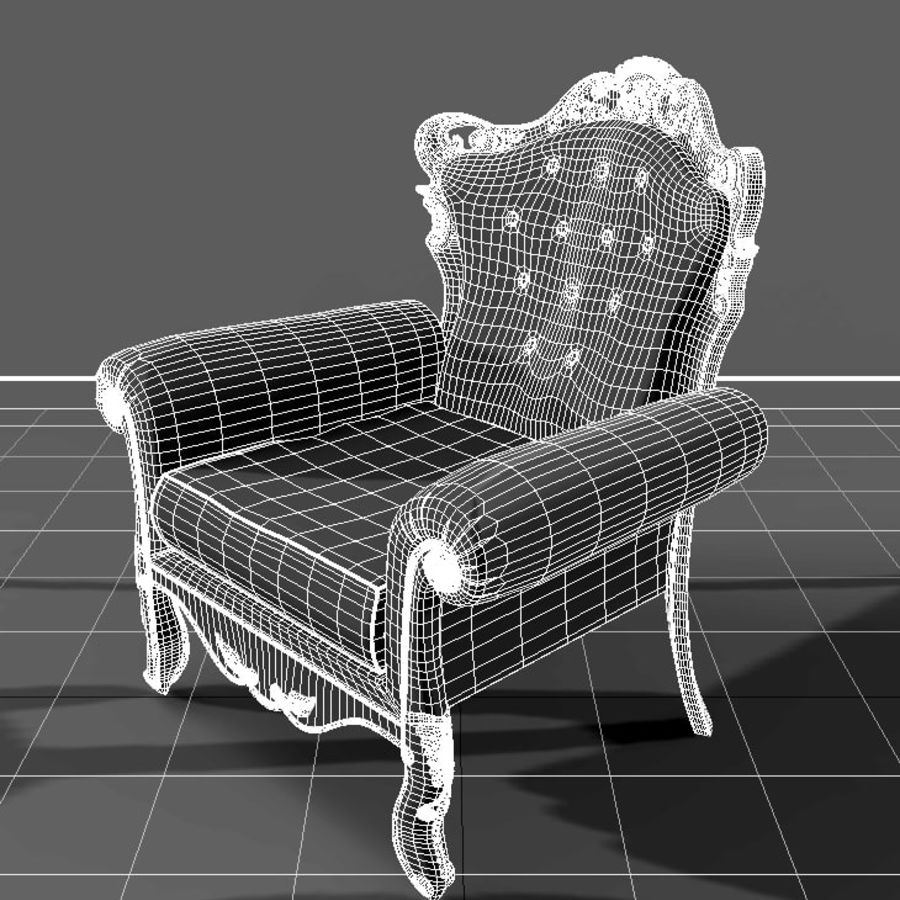 Кресло Барокко royalty-free 3d model - Preview no. 2
