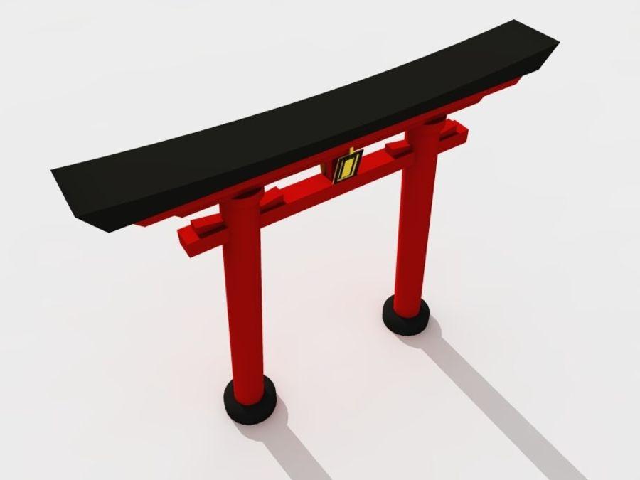 日本门 -  Torii木花园大门 royalty-free 3d model - Preview no. 2
