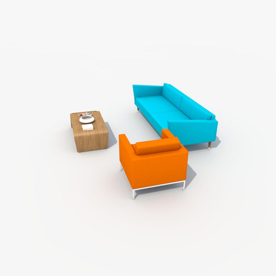 Sofá Mueble Set_Retro royalty-free modelo 3d - Preview no. 11