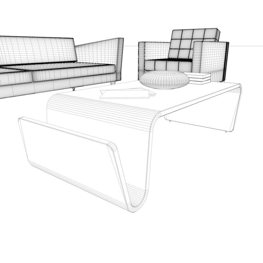 Sofá Mueble Set_Retro royalty-free modelo 3d - Preview no. 16