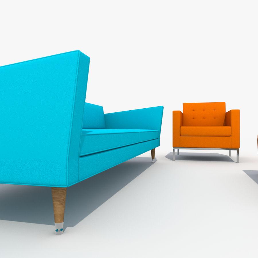 Sofá Mueble Set_Retro royalty-free modelo 3d - Preview no. 21
