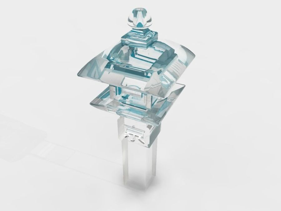 Lanterne en pierre japonaise royalty-free 3d model - Preview no. 4