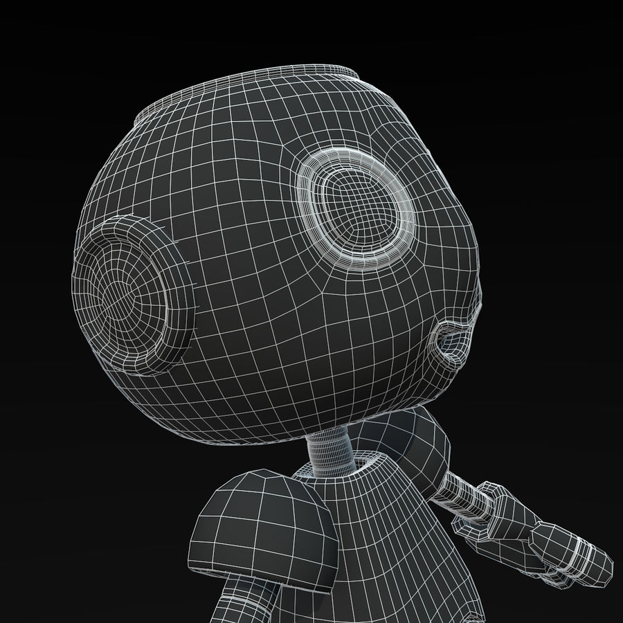 Cute Robot royalty-free 3d model - Preview no. 10
