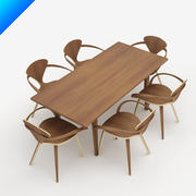 Mesa de Norman Cherner e cadeira do braço 3d model