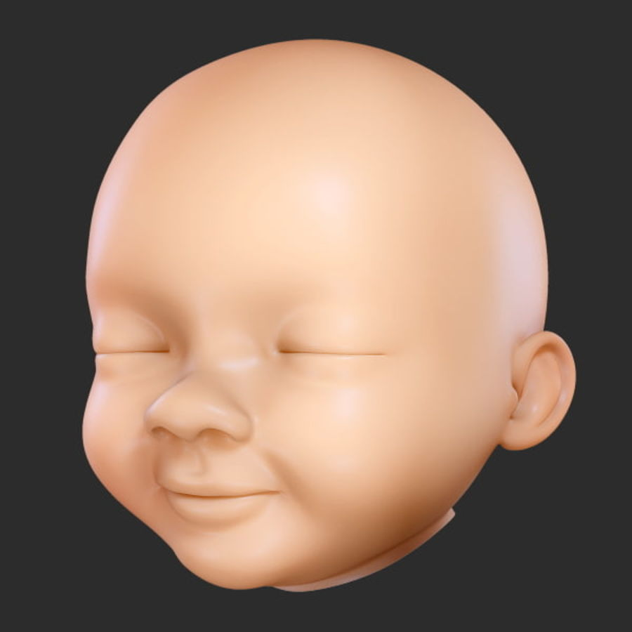 Baby hoofd royalty-free 3d model - Preview no. 1