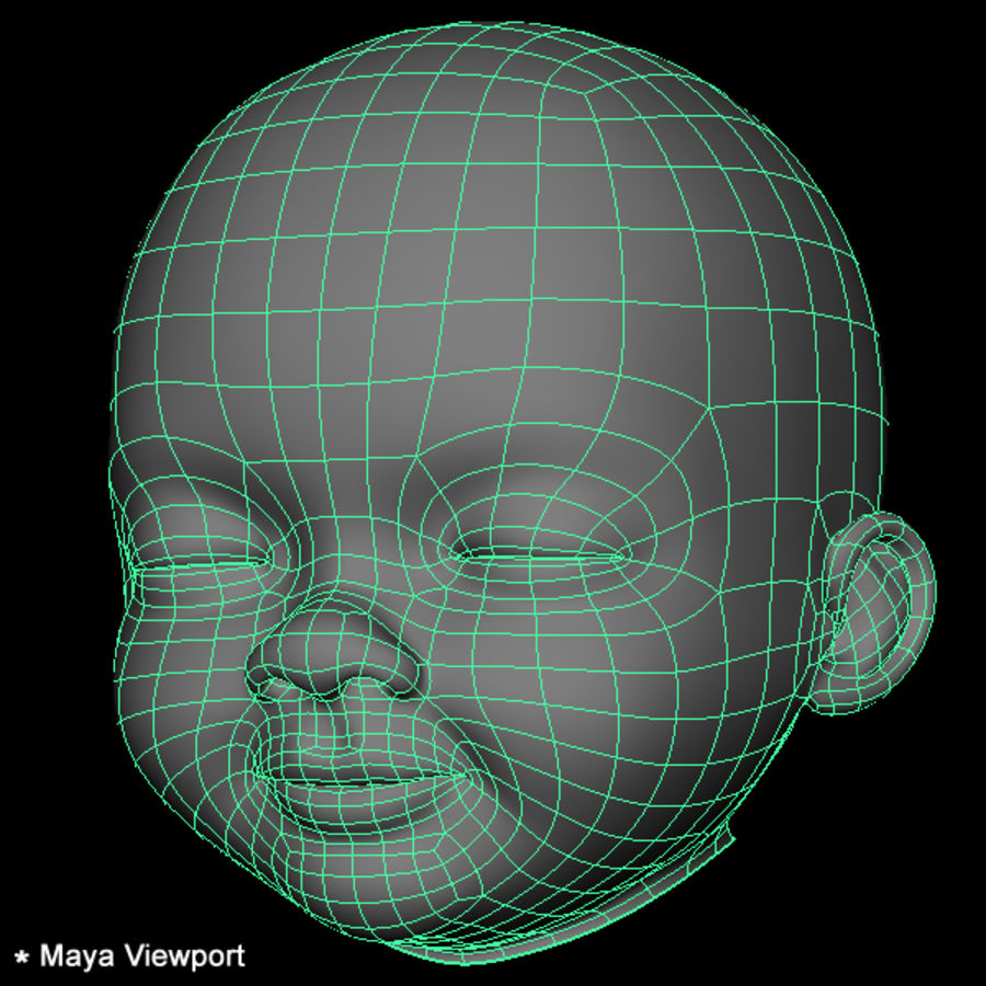 Baby Head royalty-free 3d model - Preview no. 25