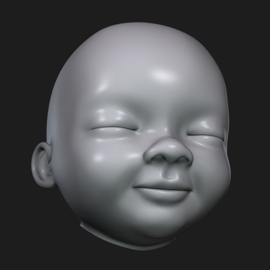 Baby hoofd royalty-free 3d model - Preview no. 11