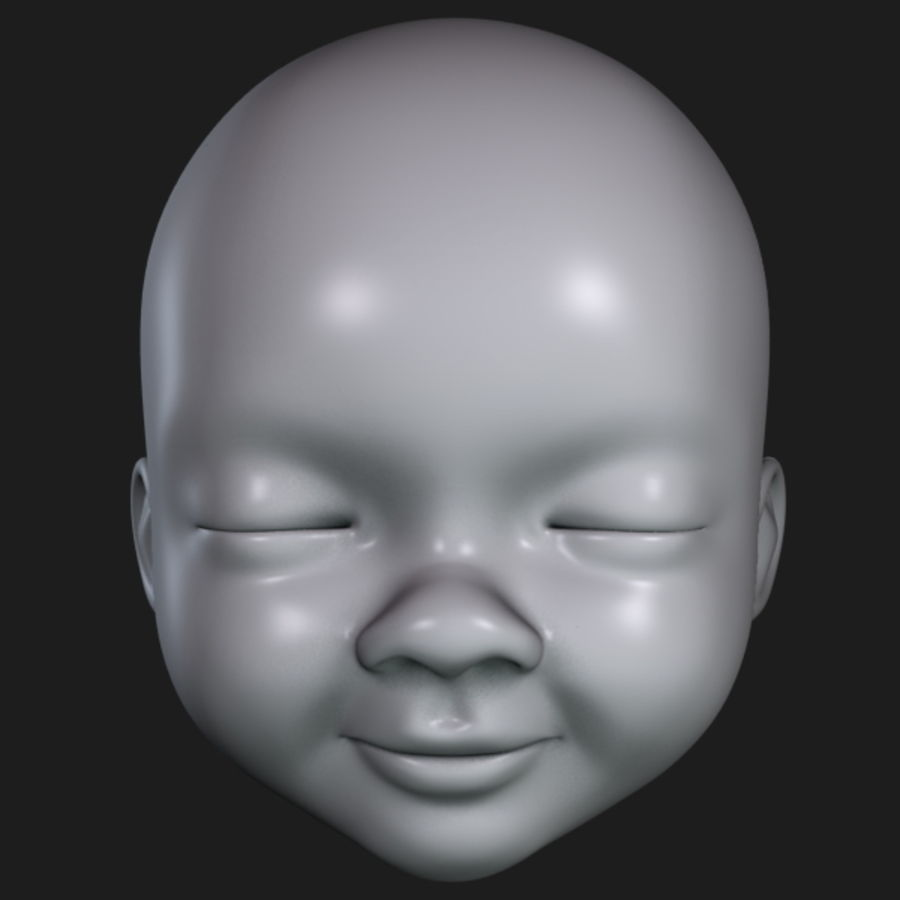 Baby Head royalty-free 3d model - Preview no. 13