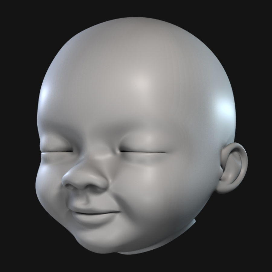 Baby Head royalty-free 3d model - Preview no. 3