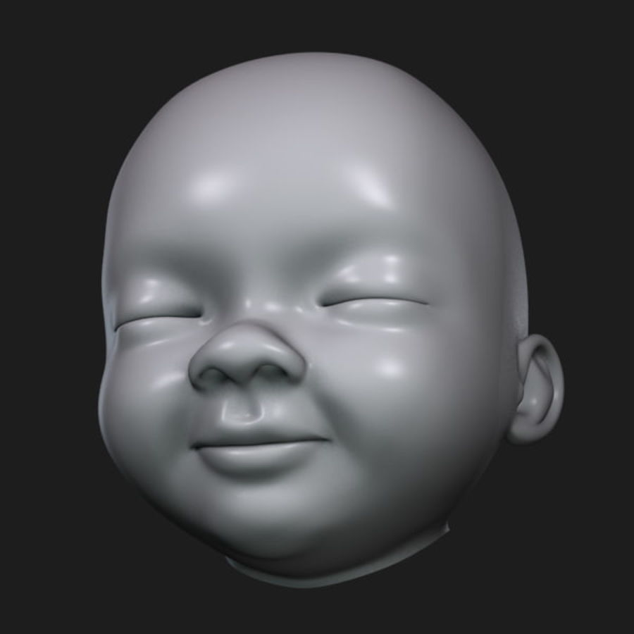 Baby hoofd royalty-free 3d model - Preview no. 10