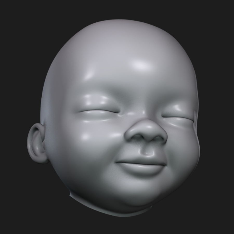 Baby Head royalty-free 3d model - Preview no. 11