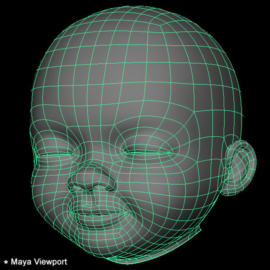 Baby hoofd royalty-free 3d model - Preview no. 25