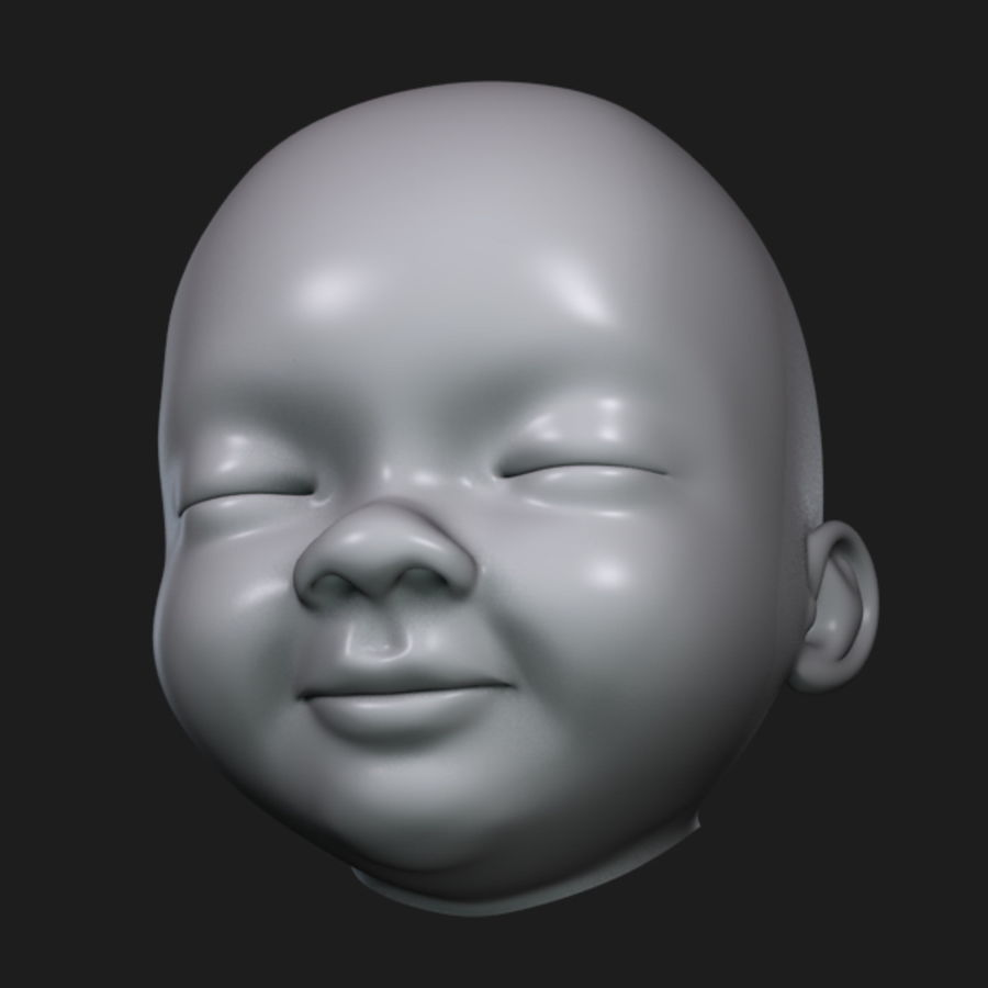 Baby Head royalty-free 3d model - Preview no. 10