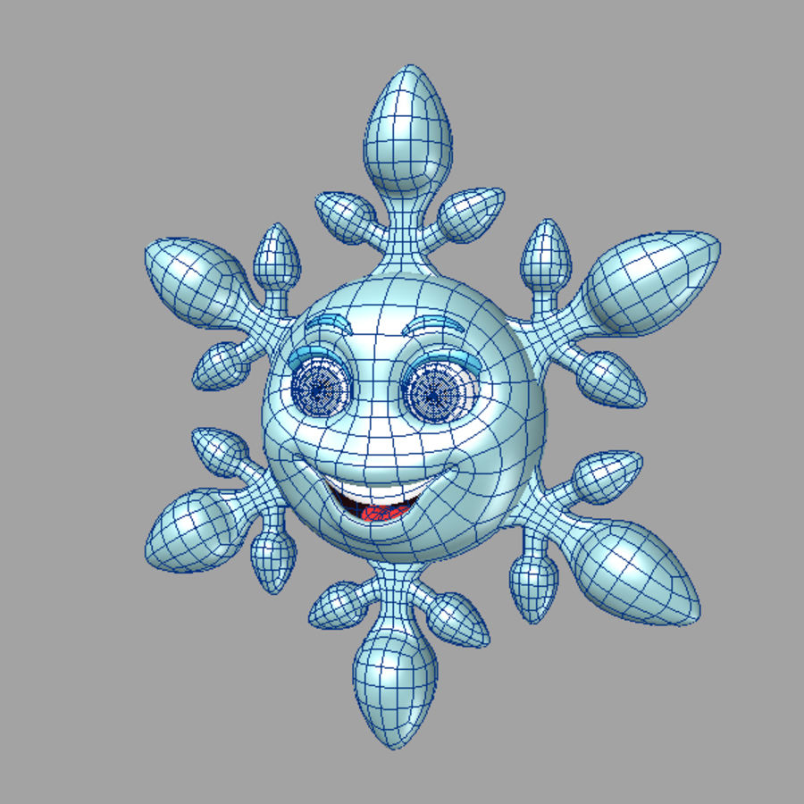 cartoon snowflake royalty-free 3d model - Preview no. 6