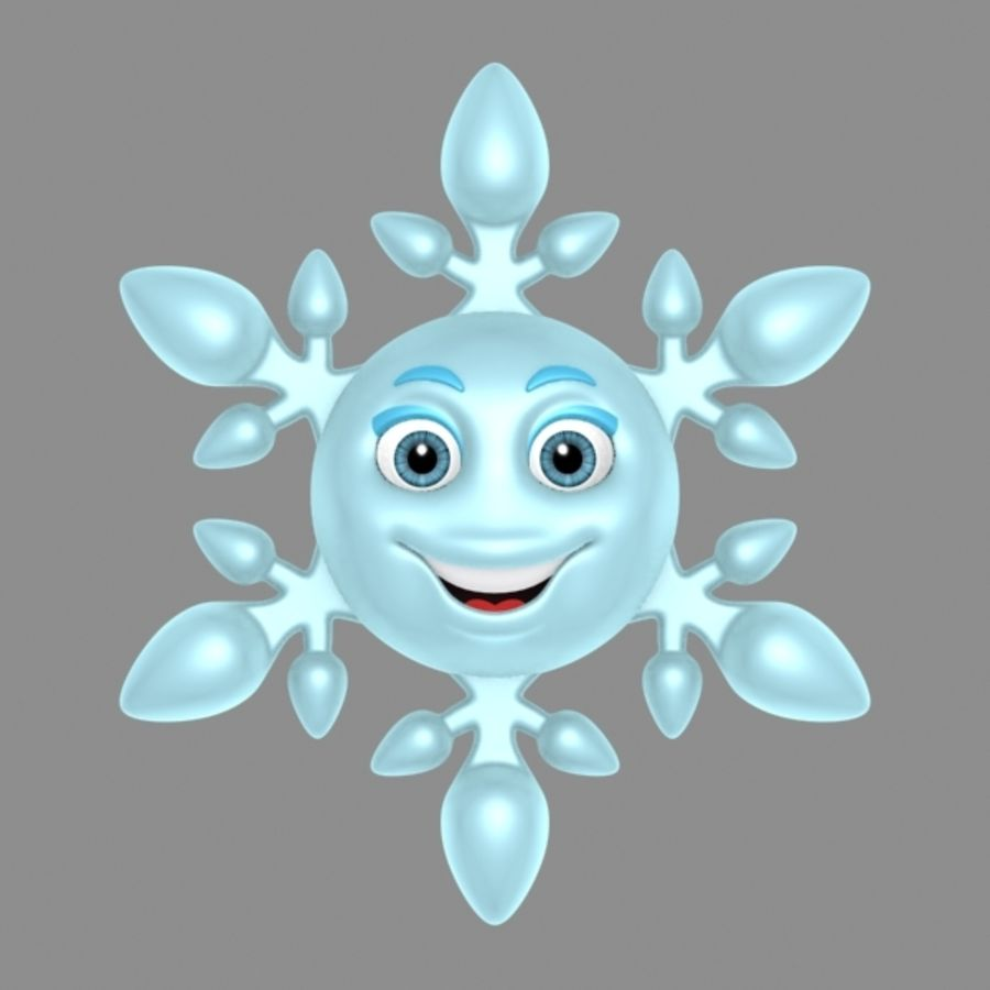 cartoon snowflake royalty-free 3d model - Preview no. 3