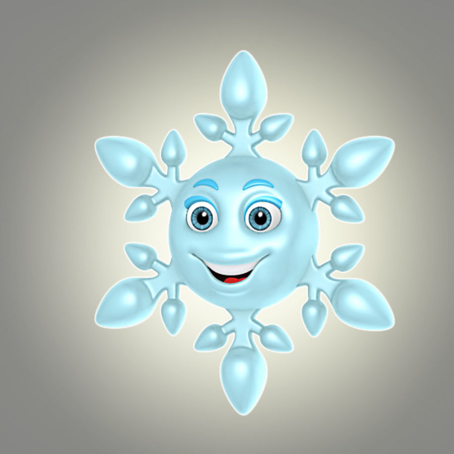 cartoon snowflake royalty-free 3d model - Preview no. 1