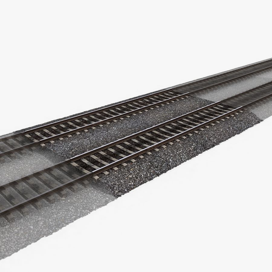Railway Tracks 1 royalty-free 3d model - Preview no. 3
