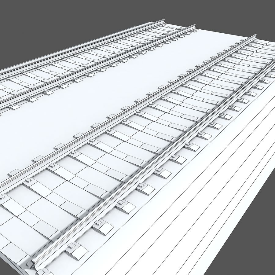 Railway Tracks 1 royalty-free 3d model - Preview no. 11