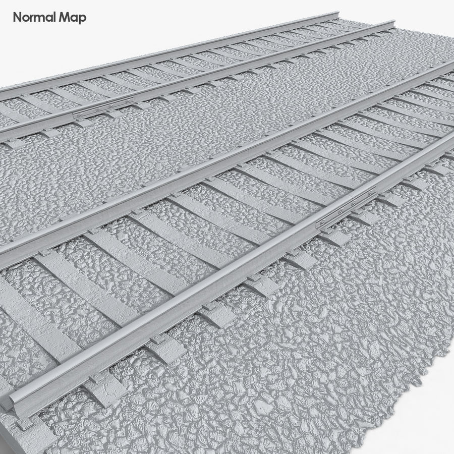 Railway Tracks 1 royalty-free 3d model - Preview no. 7