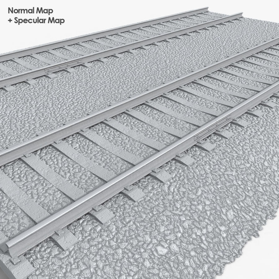 Railway Tracks 1 royalty-free 3d model - Preview no. 8