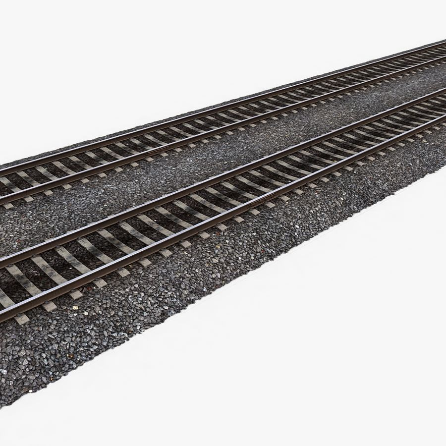 Railway Tracks 1 royalty-free 3d model - Preview no. 1