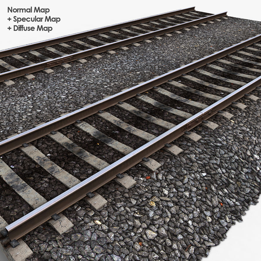Railway Tracks 1 royalty-free 3d model - Preview no. 9