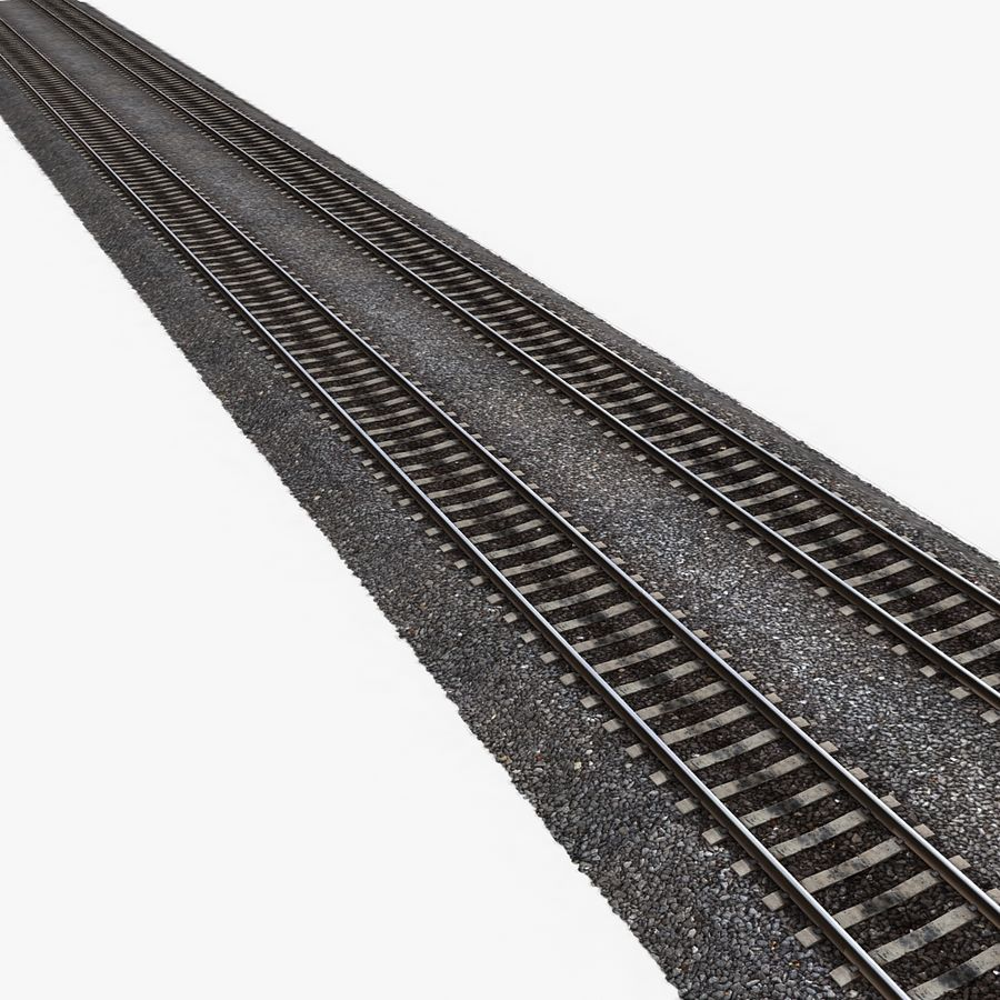 Railway Tracks 1 royalty-free 3d model - Preview no. 5