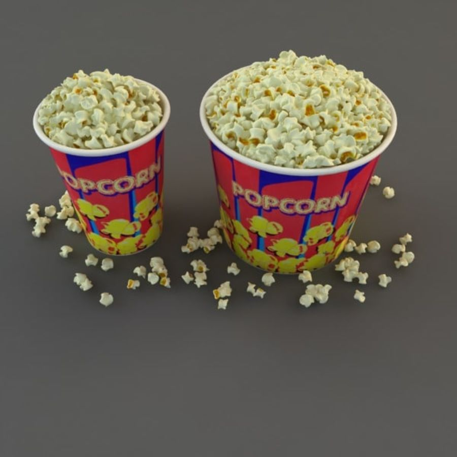 Popcorn in Tubs royalty-free 3d model - Preview no. 8