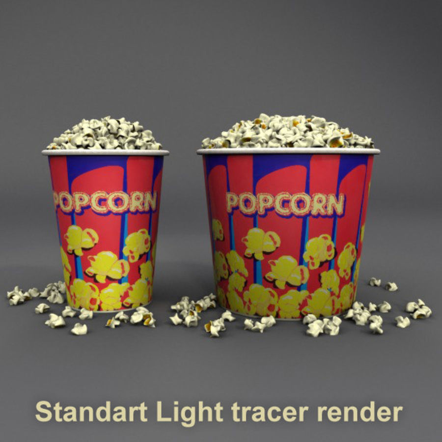 Popcorn in Tubs royalty-free 3d model - Preview no. 13