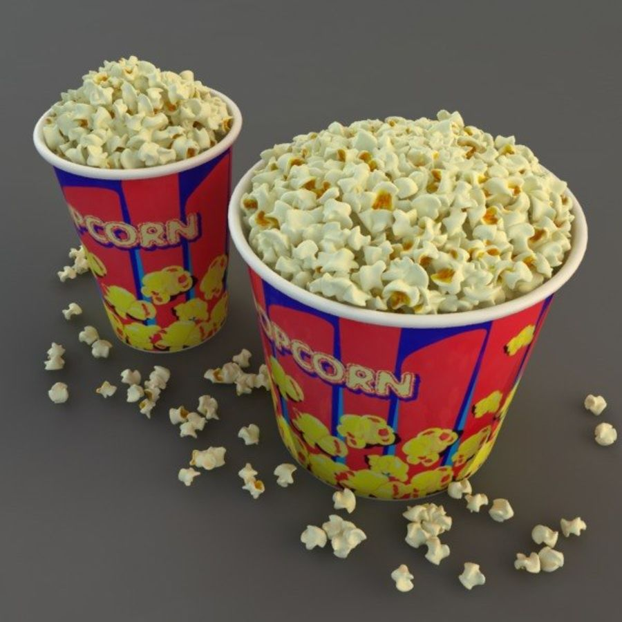 Popcorn in Tubs royalty-free 3d model - Preview no. 3
