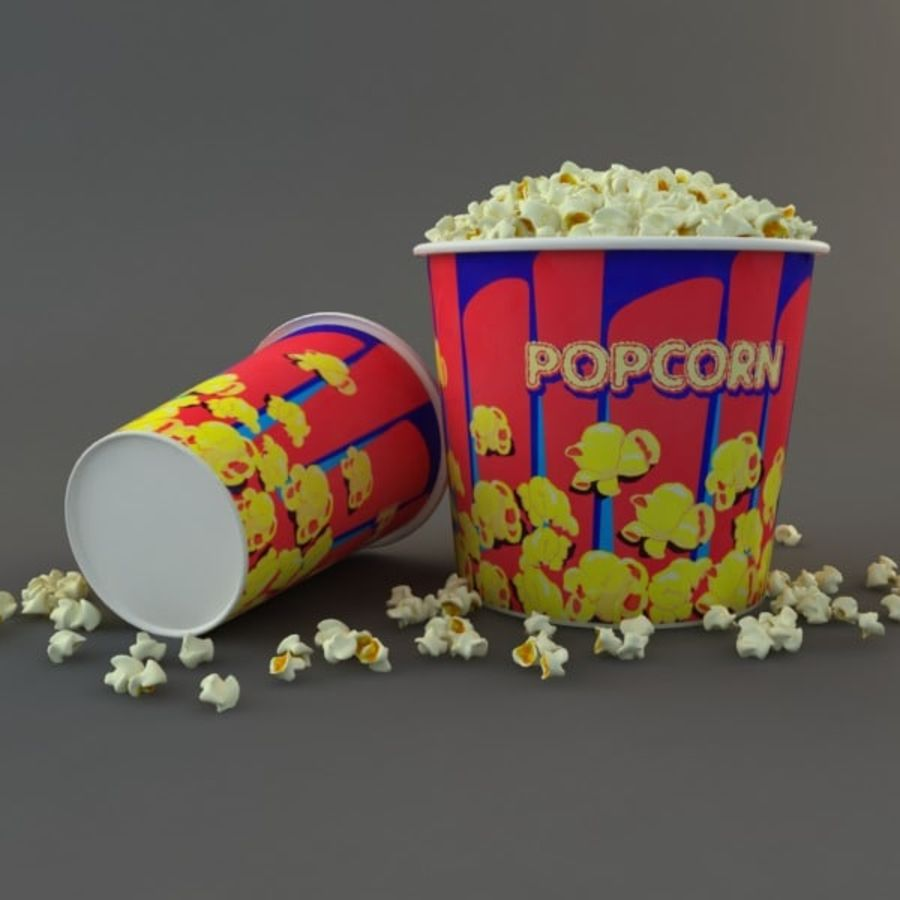 Popcorn in Tubs royalty-free 3d model - Preview no. 7