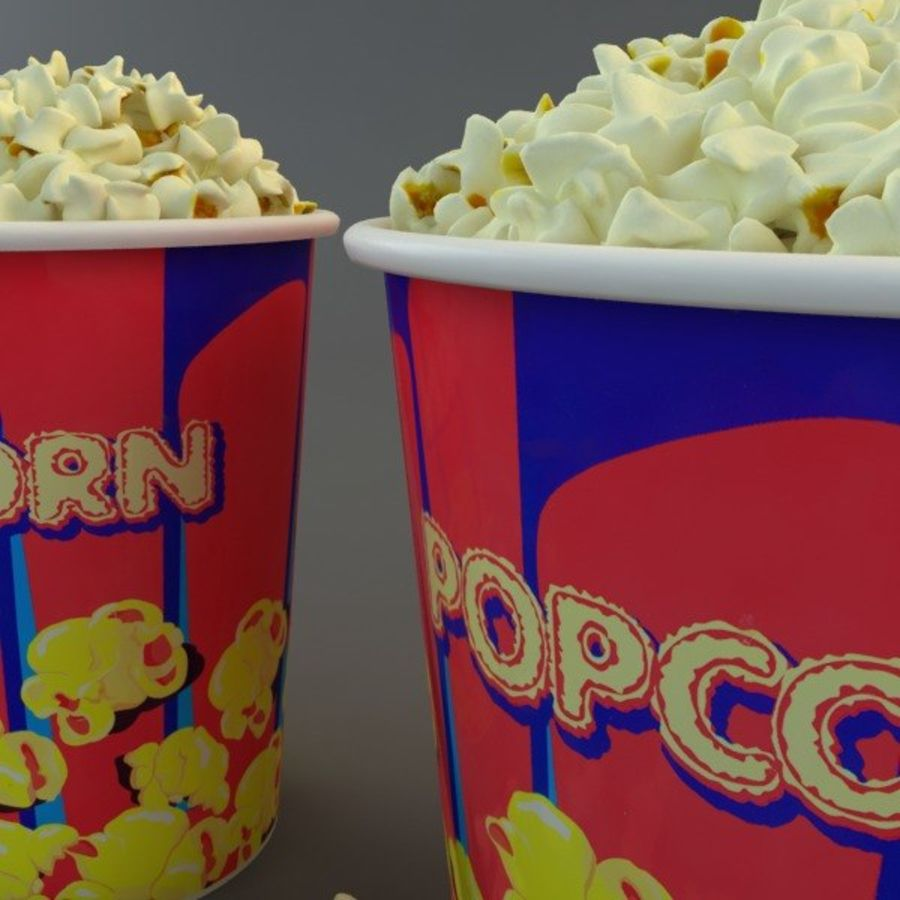Popcorn in Tubs royalty-free 3d model - Preview no. 4
