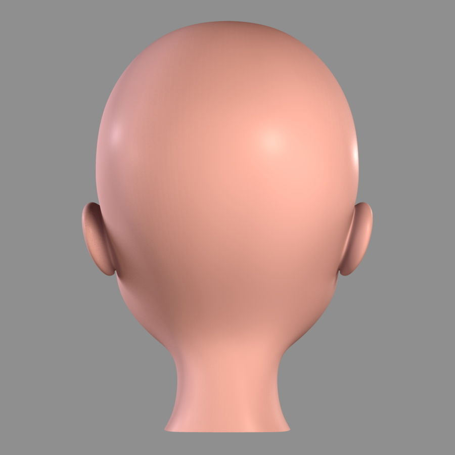 Cartoon Girl - Head royalty-free 3d model - Preview no. 9