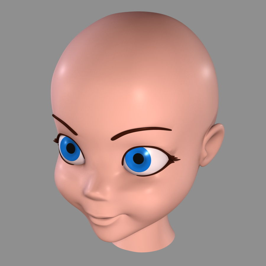 Cartoon Girl - Head royalty-free 3d model - Preview no. 10