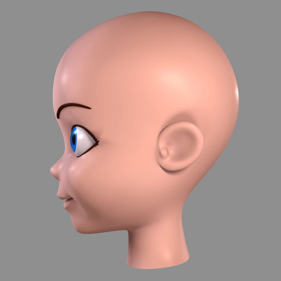 Cartoon meisje - hoofd royalty-free 3d model - Preview no. 8