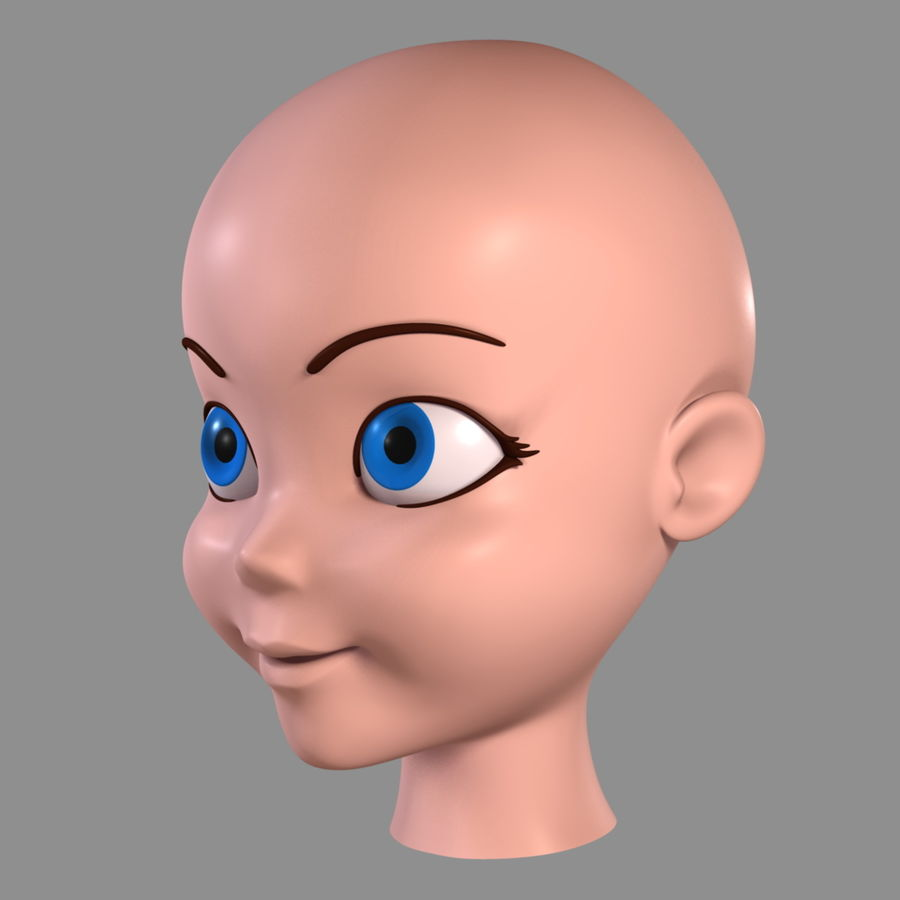 Cartoon Girl - Head royalty-free 3d model - Preview no. 7