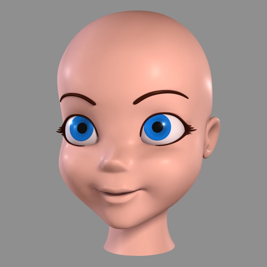 Cartoon meisje - hoofd royalty-free 3d model - Preview no. 2