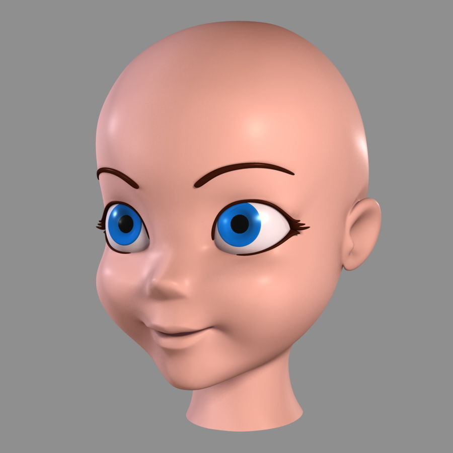 Cartoon Girl - Head royalty-free 3d model - Preview no. 6