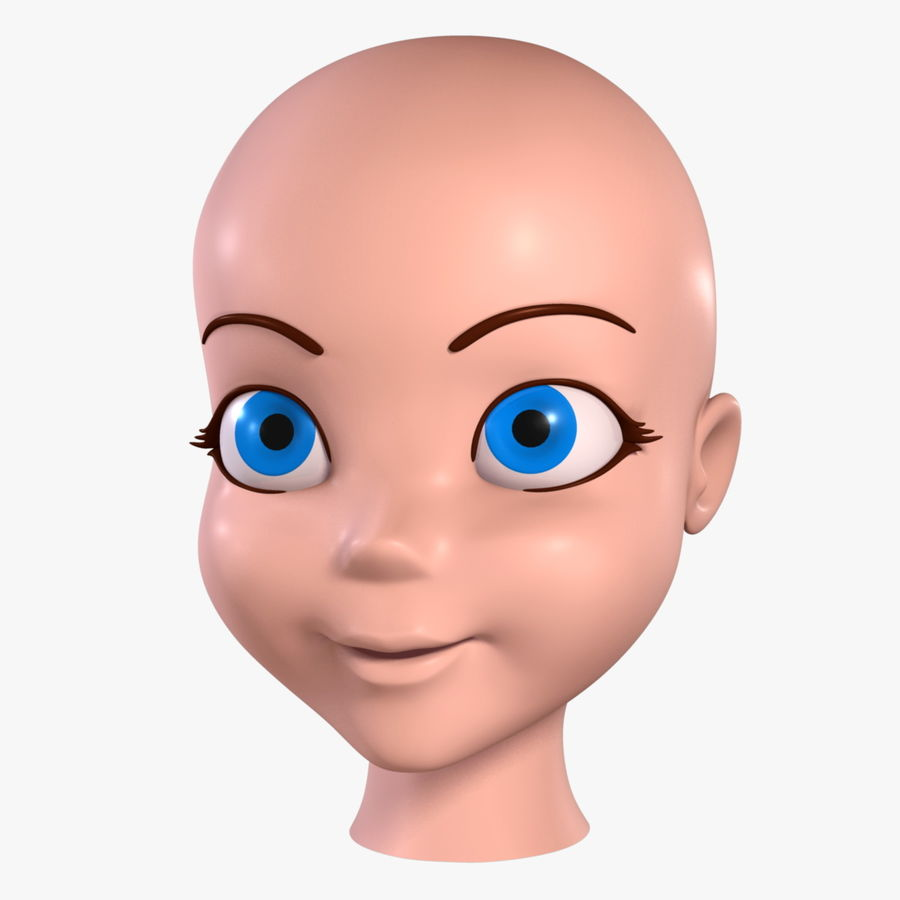 Cartoon Girl - Head royalty-free 3d model - Preview no. 1