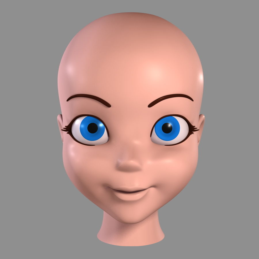 Cartoon Girl - Head royalty-free 3d model - Preview no. 5