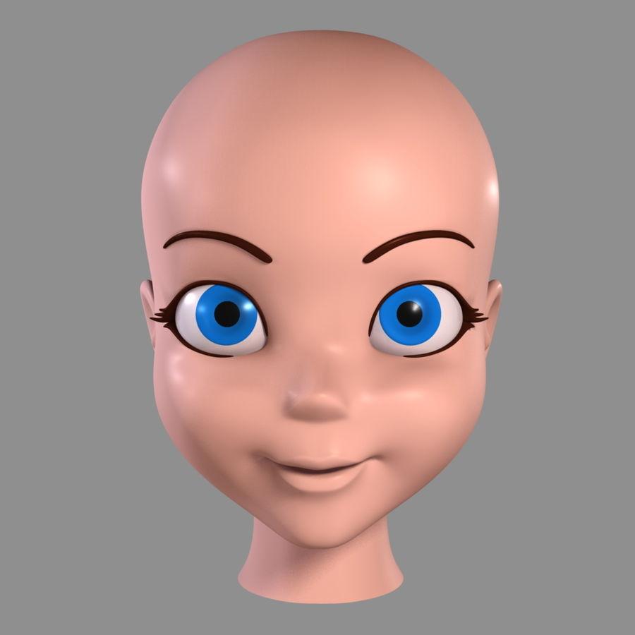 Cartoon meisje - hoofd royalty-free 3d model - Preview no. 5