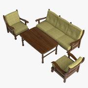 Oak Furniture Set 3d model