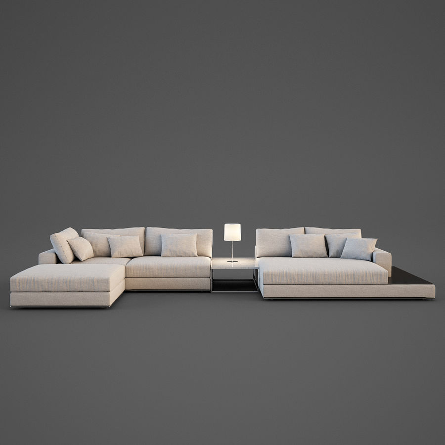 Realistic Sofa royalty-free 3d model - Preview no. 2
