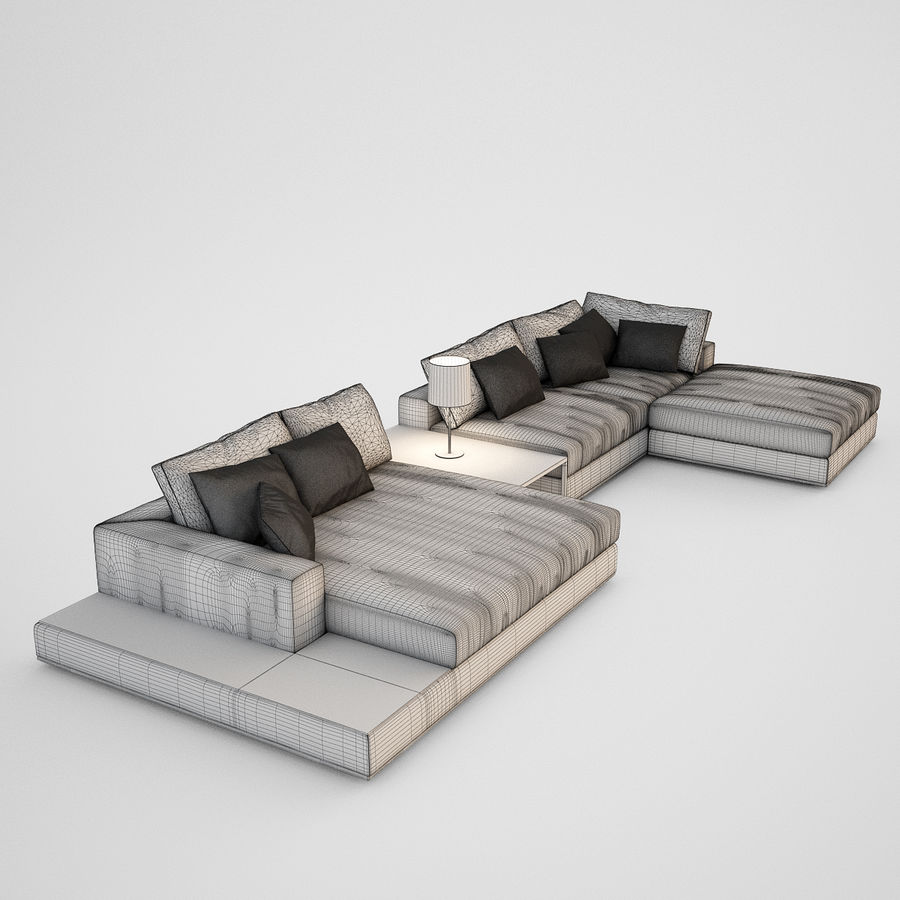 Realistic Sofa royalty-free 3d model - Preview no. 4