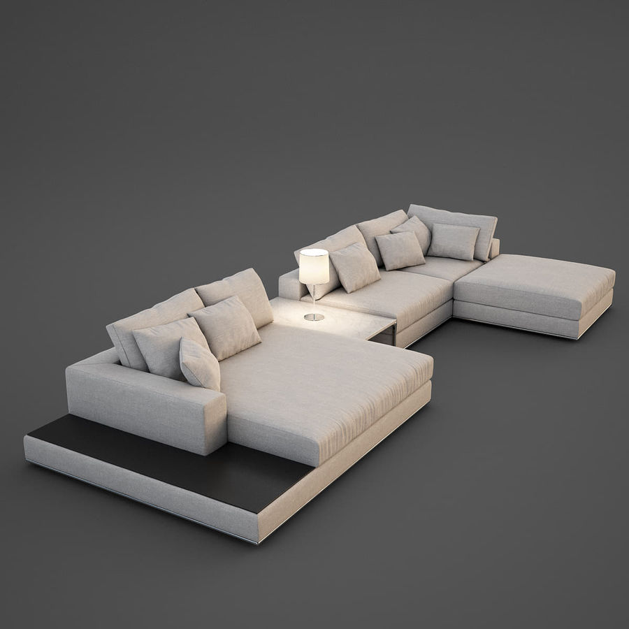 Realistic Sofa royalty-free 3d model - Preview no. 3