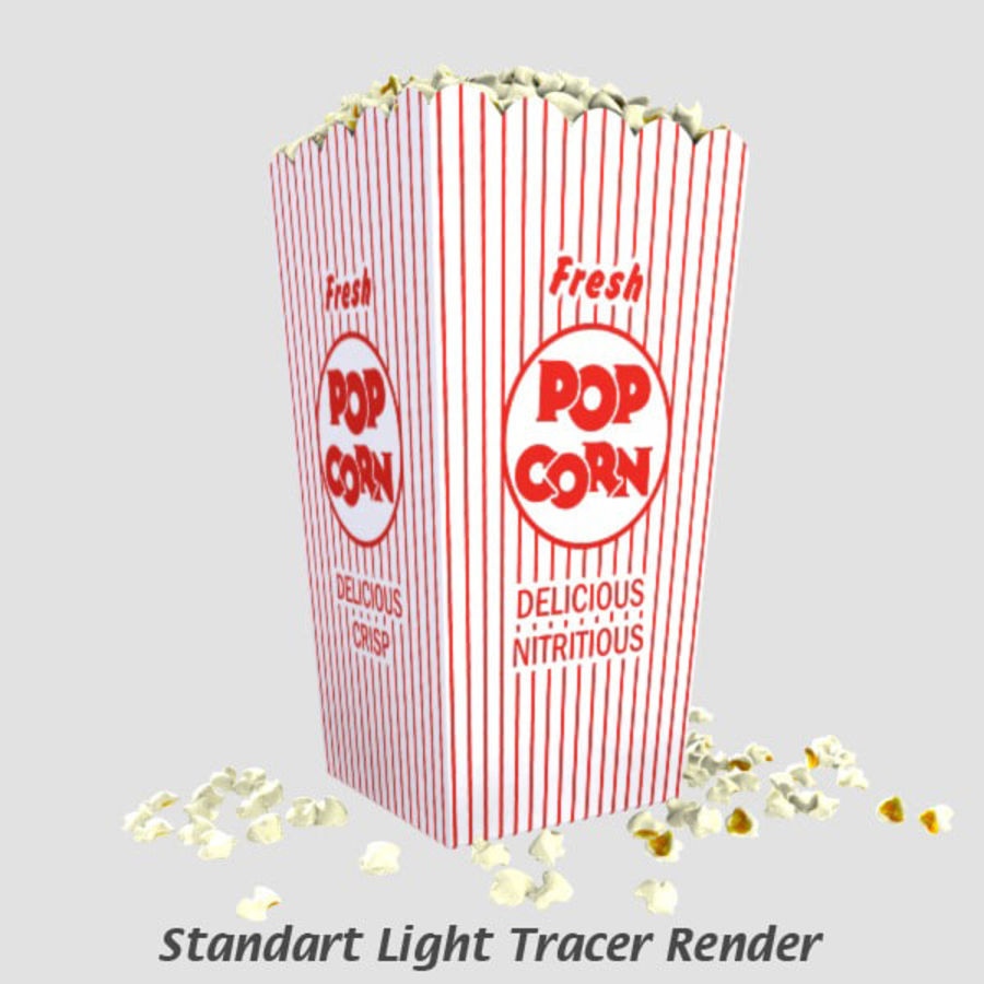 Popcorn in Box royalty-free 3d model - Preview no. 8