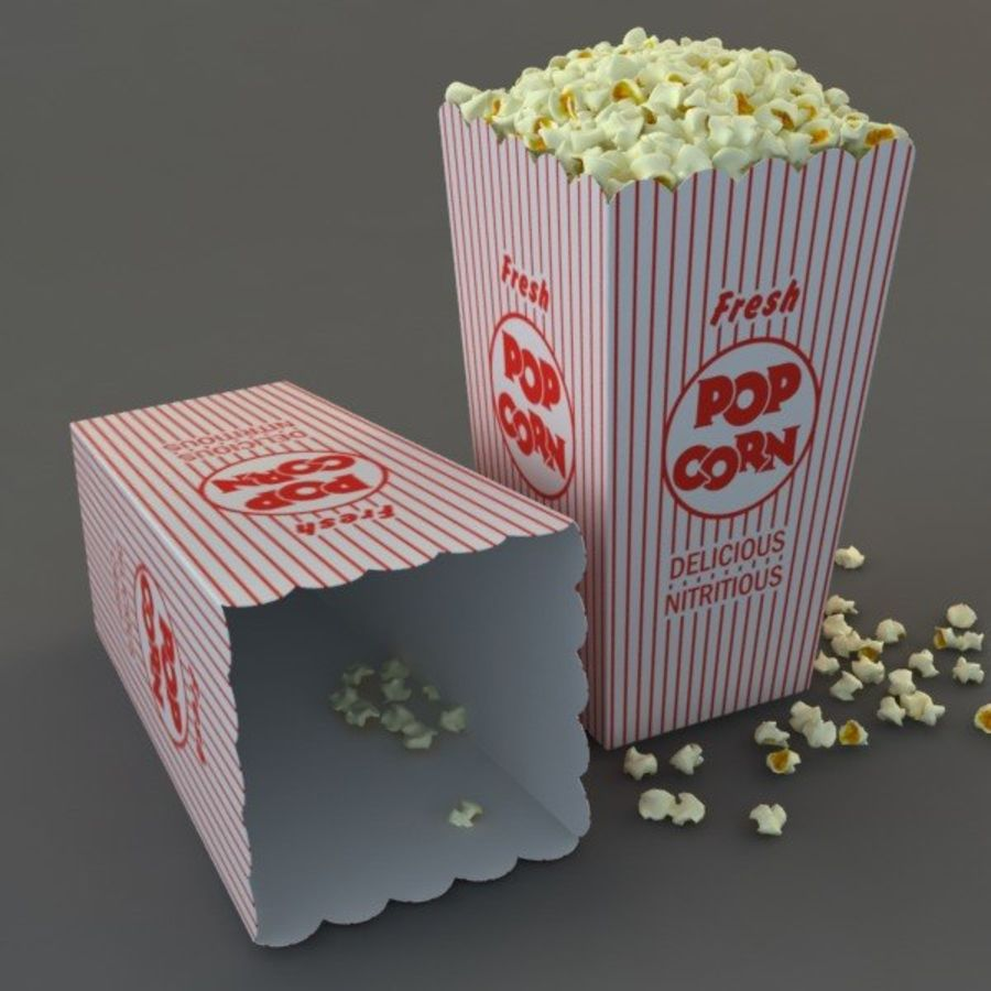 Popcorn in Box royalty-free 3d model - Preview no. 6