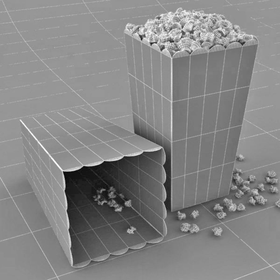 Popcorn in Box royalty-free 3d model - Preview no. 7