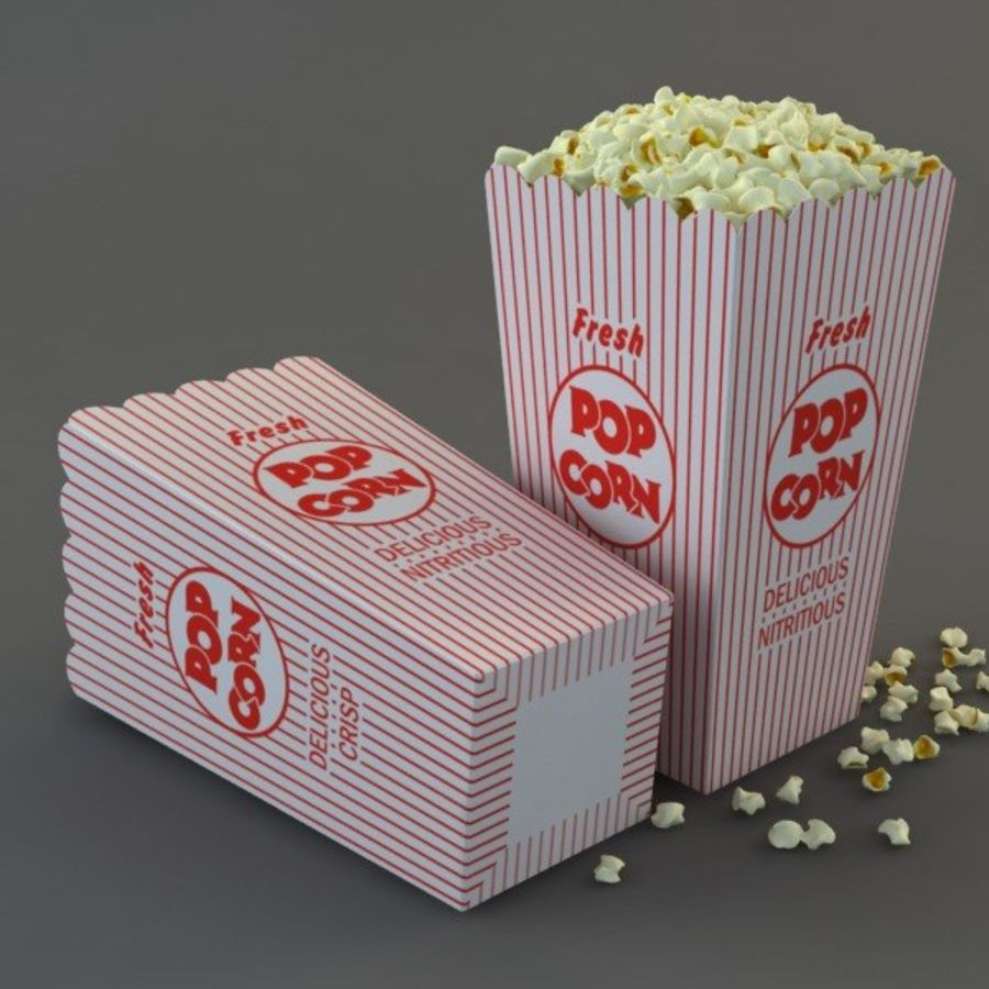 Popcorn in Box royalty-free 3d model - Preview no. 5
