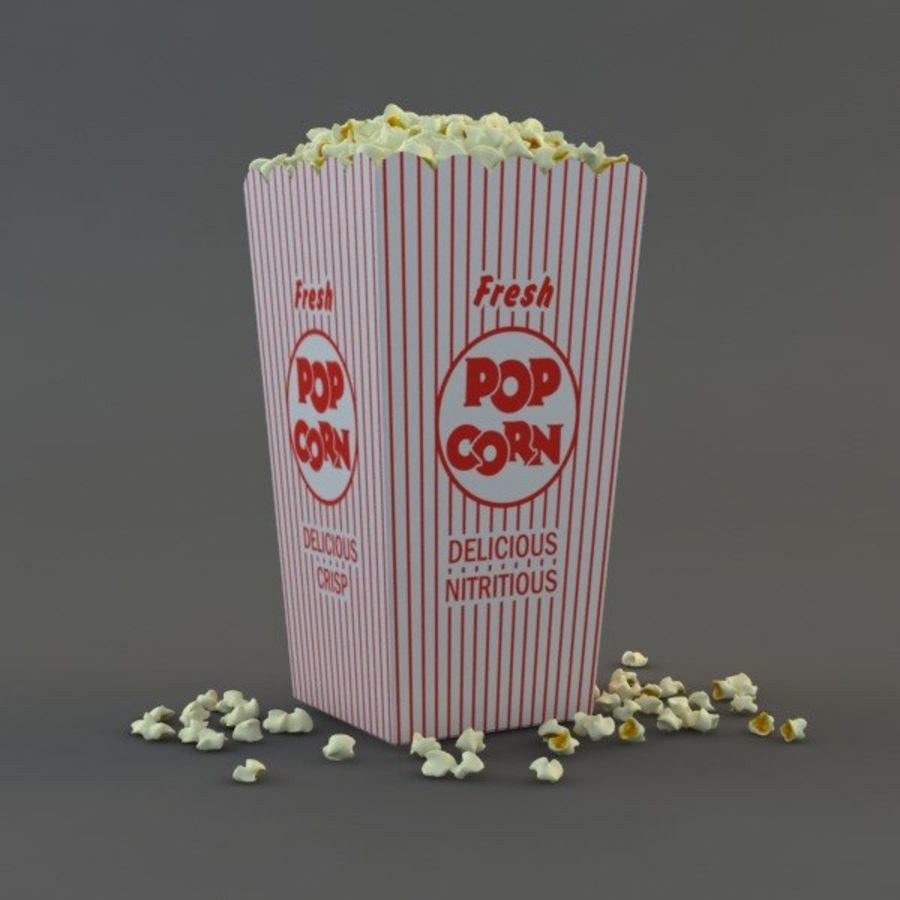 Popcorn in Box royalty-free 3d model - Preview no. 2